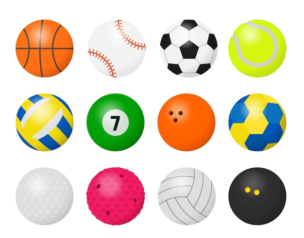 Piłki sportowe. rysunkowy sprzęt do grania w gry sportowe, piłka nożna koszykówka baseball siatkówka