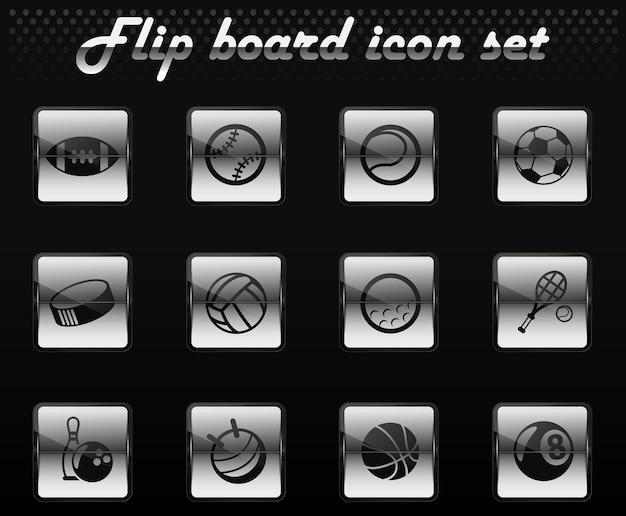 Piłki sportowe wektor odwróć mechaniczne ikony do projektowania interfejsu użytkownika