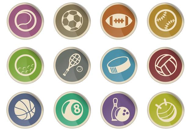 Piłki sportowe wektorowe ikony w postaci okrągłych etykiet papierowych
