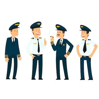 Piloci w mundurach.