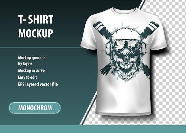 Pilot czaszki. szablon koszulki, w pełni edytowalne.