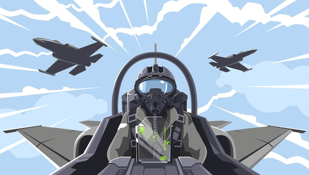Pilot jest w myśliwcu. omówienie kokpitu samolot-myśliwiec. zespół akrobacyjny w powietrzu. wojownik w chmurach. figury wyższego pilatażu. pilot samolotu wojskowego.