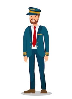 Pilot, samolotowy kapitan płaski