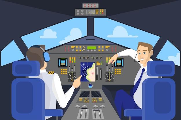 Pilot w kokpicie uśmiechnięty. panel sterowania w samolocie. kapitan na pokładzie. idea latania i lotnictwa. ilustracja