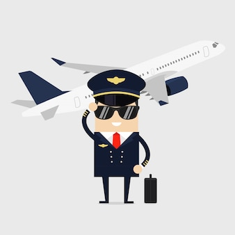 Pilot w mundurze stojący przed samolotem.