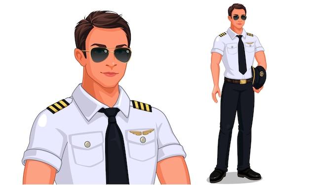 Pilot w pozycji stojącej