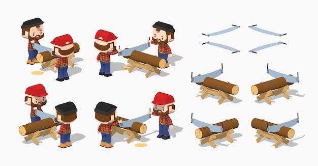 Piłowanie drewna na izometrycznym stole roboczym 3d lowpoly