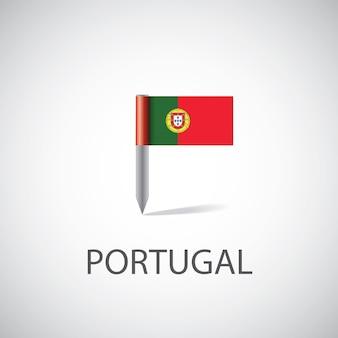 Pin flaga portugalii, na białym tle na jasnym tle