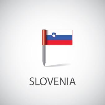 Pin flaga słowenii, na białym tle na jasnym tle