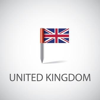 Pin flaga wielkiej brytanii, na białym tle na jasnym tle