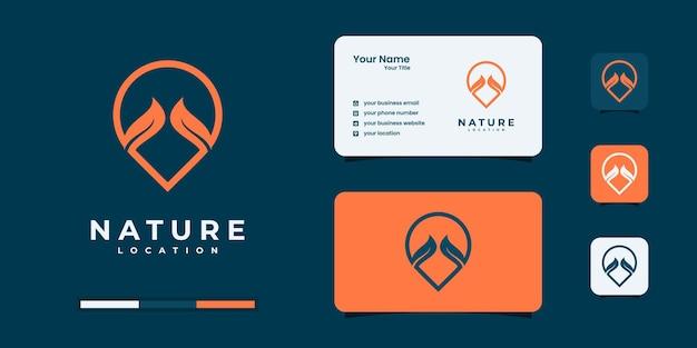 Pin liść logo, lokalizacja liść logo szablon wektor projektu.