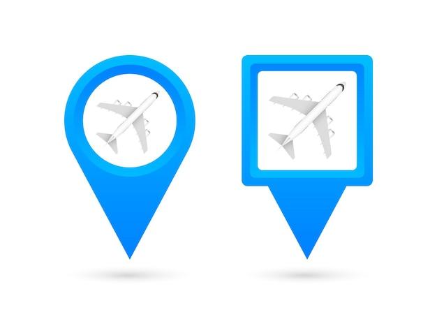 Pin lotniska do projektowania koncepcyjnego. ikona punktu szpilki. symbol mapy. lokalizacja, projekt symbolu ikony wskaźnika. ilustracja wektorowa