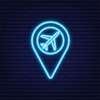 Pin lotniska do projektowania koncepcyjnego. ikona punktu szpilki. symbol mapy. lokalizacja, projekt symbolu ikony wskaźnika. neonowa ikona.