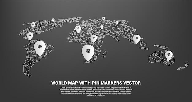 Pin marker z wieloboczną mapą świata