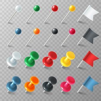 Pinezki flagi pinezki. kolorowy wskaźnik znacznik pinezka flaga hals przypięta deska pinezka zorganizowane ogłoszenie, realistyczny zestaw