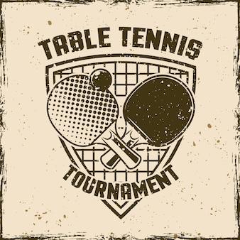 Ping pong lub tenis stołowy vintage godło, etykieta, odznaka lub logo. ilustracja wektorowa na tle z wymiennymi teksturami grunge