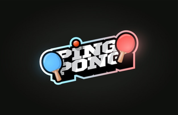 Ping pong nowoczesne, profesjonalne logo sportowe w stylu retro