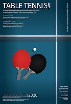 Pingpong plakat szablon wektor ilustracja