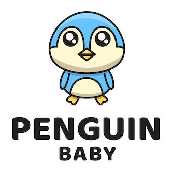 Pingwin baby cute logo szablon