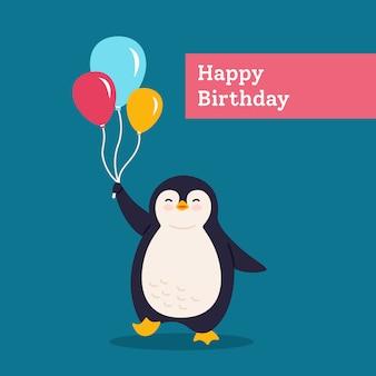 Pingwin kartka urodzinowa z balonem. wakacje pocztówka kreskówka płaskie powitanie. zabawny szczęśliwy abstrakcyjny charakter zwierząt. ładny ręcznie rysowane pingwin, transparent niespodzianka dla dzieci. ilustracja na białym tle