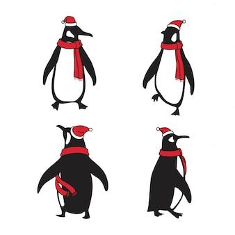 Pingwin kreskówka boże narodzenie