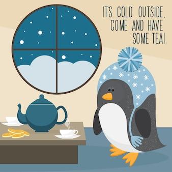 Pingwin kreskówka w domu.