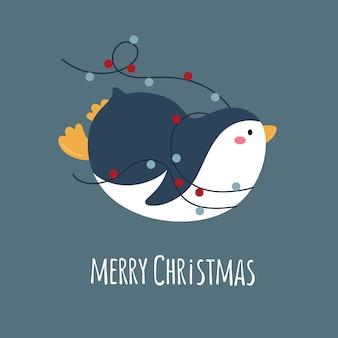 Pingwin kreskówka z girlandą wesołych świąt ilustracji wektorowych napis