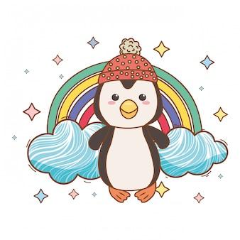Pingwin kreskówka z kapeluszem