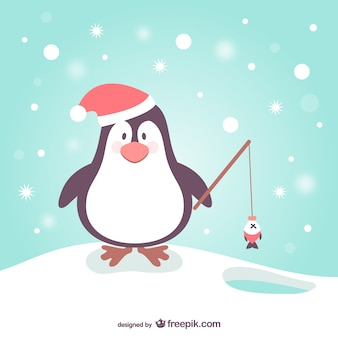 Pingwin kreskówki na boże narodzenie