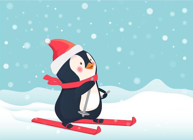 Pingwin na nartach.