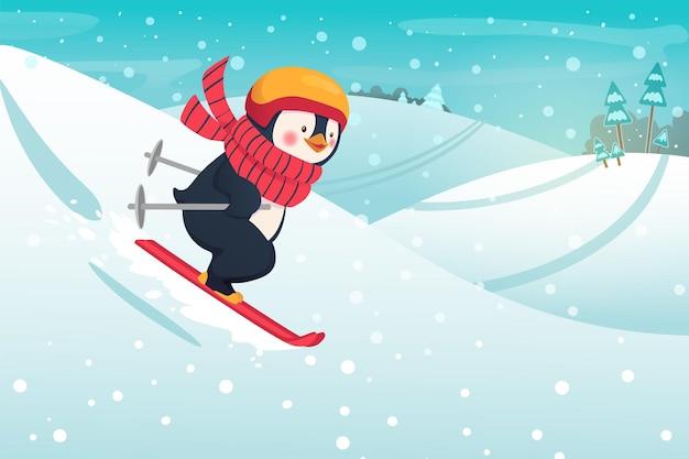 Pingwin narciarz na zewnątrz. ilustracja koncepcja sportu i rekreacji