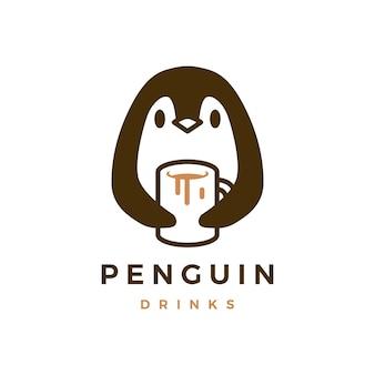 Pingwin przytulić kubek ikona logo kawy