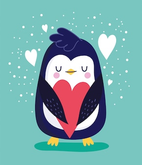 Pingwin ptak z sercami
