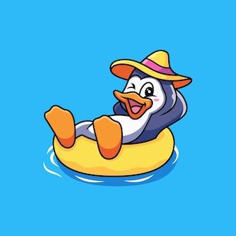Pingwin relaksuj się z kreskówką na pływackim kółku