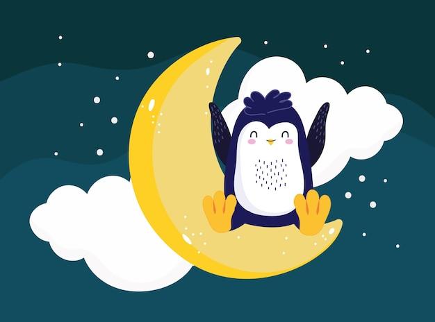 Pingwin siedzący księżycową nocną scenę