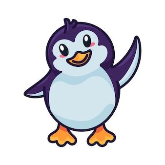 Pingwin śmieszne dziecko ptak trzepotanie z wektorem skrzydła. szczęście wodne nielot biegun północny dzikie zwierzę dziecko. pozytywna emocja piękna laska witamy gestykulując kontur płaska ilustracja kreskówka