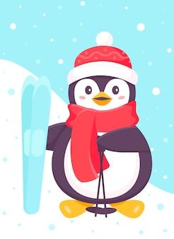 Pingwin stoi z nartami i kijkami w dłoniach, ubrany w szalik. boże narodzenie i nowy rok. zabawna postać z kreskówki pingwina narciarskiego. boże narodzenie na nartach pingwina, zajęcia na świeżym powietrzu. ilustracja wektorowa