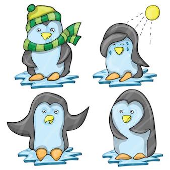 Pingwin w kilku pozach - wektor kreskówka zestaw zabawnych pingwinów