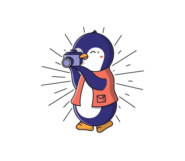 Pingwin w kurtce robi zdjęcie