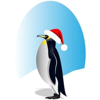 Pingwin z czerwonym santa kapelusz clipart wektor