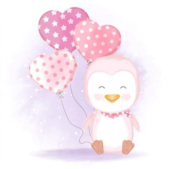 Pingwin z ręcznie rysowane ilustracji balonu