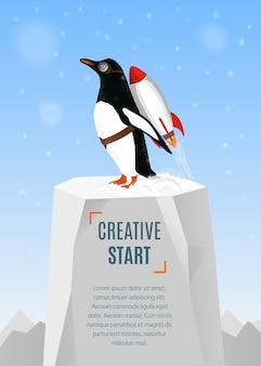 Pingwin zaczyna startować za pomocą rakiety