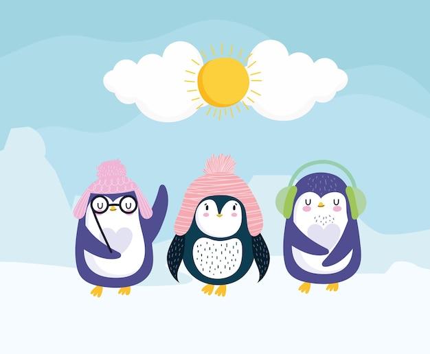 Pingwiny czapki zimowe nauszniki okulary