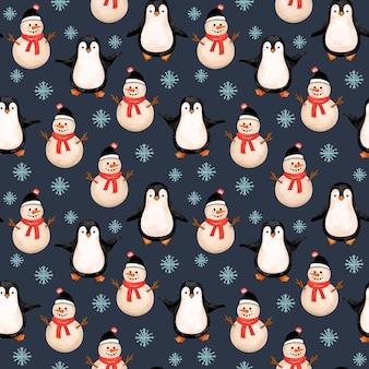 Pingwiny i bałwan zimowy wzór boże narodzenie powtórzyć tło