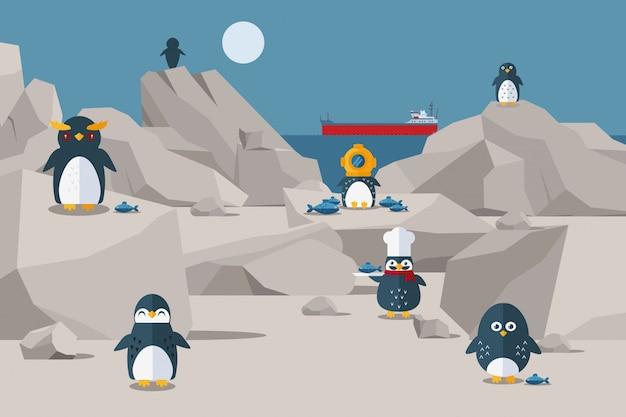 Pingwiny jedzą lunch na skalistym brzegu, ilustracja. na zewnątrz ptak w czapce z trzema czapkami i kapelusz szefa kuchni. pingwin postaci dostał jedzenie