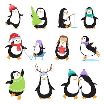 Pingwiny kreskówka. zimowe wakacje wektor zwierzęta zestaw