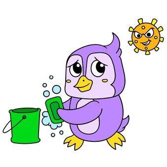 Pingwiny myją ręce mydłem, aby nie zostały zaatakowane przez wirusy bakteryjne, ilustracja wektorowa. doodle ikona obrazu kawaii.