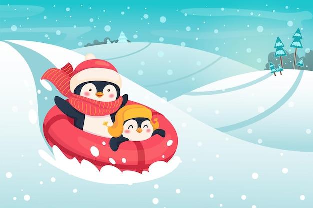 Pingwiny na rurze śnieżnej. ilustracja koncepcja sportu i rekreacji