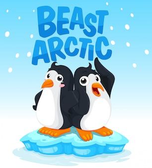 Pingwiny stoi na lodzie
