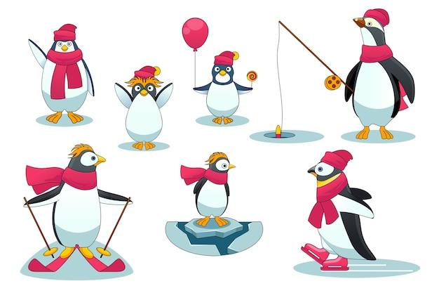Pingwiny w różnych sytuacjach. charakter dzikiego ssaka polarnego z wędką, jazdą na nartach i łyżwach. ilustracja wektorowa w stylu cartoon